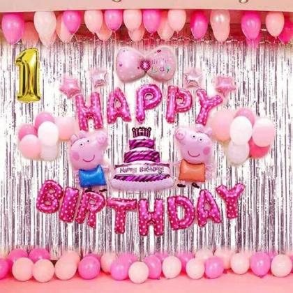 Combo 2 Rèm + Set Bóng Heo Pepa Trang trí sinh nhật !